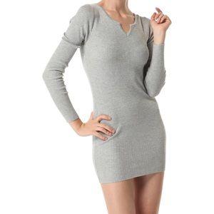 Long Sleeve Ribbed Knit Split Neck Sweater Dress